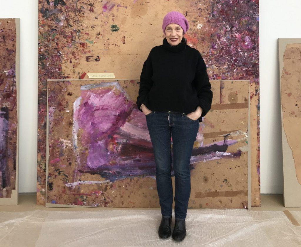 Martha Jungwirth in her studio, 2019; Photo by Christa Kodolitsch